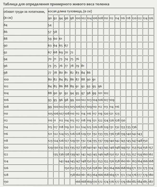 таблица измерения живого веса быка